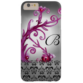 SWIRLS, BERRIES DAMASK MONOGRAM pink ,white black Barely There iPhone 6 Plus Case