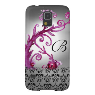 SWIRLS, BERRIES DAMASK MONOGRAM pink ,white black Galaxy S5 Case