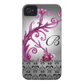SWIRLS, BERRIES DAMASK MONOGRAM pink ,white black iPhone 4 Case-Mate Case