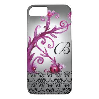 SWIRLS, BERRIES DAMASK MONOGRAM pink ,white black iPhone 7 Case
