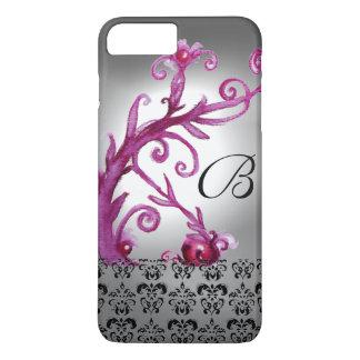 SWIRLS, BERRIES DAMASK MONOGRAM pink ,white black iPhone 7 Plus Case