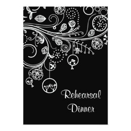 Swirls, birds black white wedding Rehearsal Dinner Card