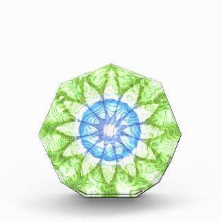 Swirls Blue Green Flower Kaleidoscope Acrylic Award