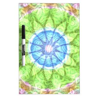 Swirls Blue Green Flower Kaleidoscope Dry-Erase Board