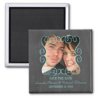 Swirls Chalkboard Photo Save the Date Magnet