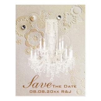 swirls chandelier vintage wedding save the date postcard
