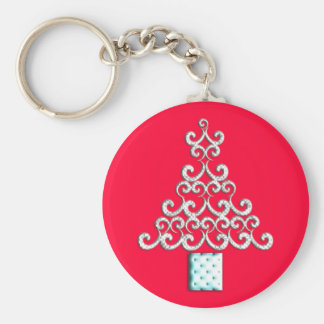 Swirls Christmas Tree Keychain