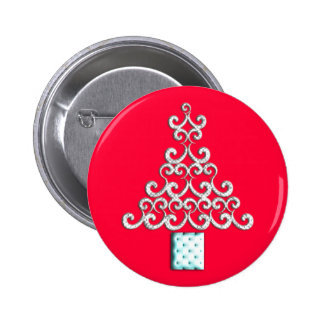 Swirls Christmas Tree Pinback Button