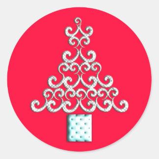 Swirls Christmas Tree Round Stickers