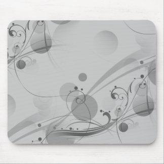 Swirls Circles Dots - Grey B&W Mouse Pad