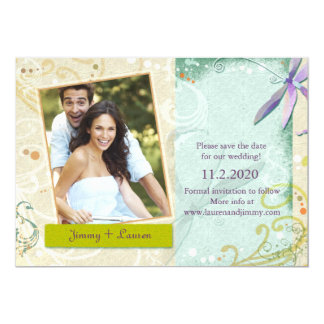 Swirls & Dragonfly Photo Wedding Save the Date Card