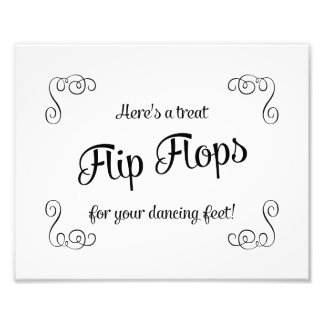 Swirls Flip Flops Treat Dancing Feet Wedding Sign Photo Print