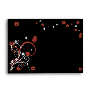 Swirls & Flowers on Black Elegant Wedding Envelopes