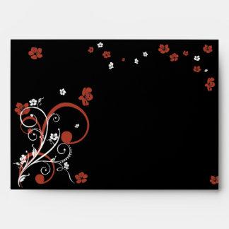 Swirls & Flowers on Black Elegant Wedding Envelope