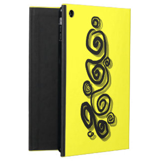 Swirls graphic with shadows in black bright yellow iPad air covers