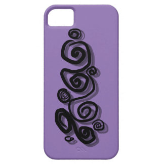 Swirls graphic with shadows in black purple Back/g iPhone SE/5/5s Case