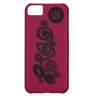 Swirls graphic with shadows monogram dark pink P/C Cover For iPhone 5C