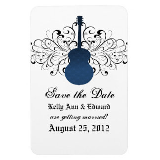 Swirls Guitar Save the Date Magnet, Blue Magnet