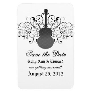 Swirls Guitar Save the Date Magnet, Gray Magnet
