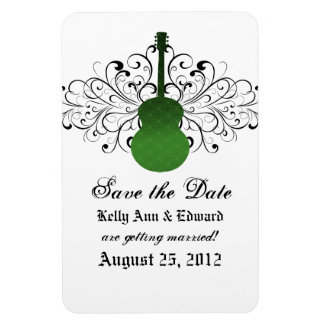 Swirls Guitar Save the Date Magnet, Green Magnet