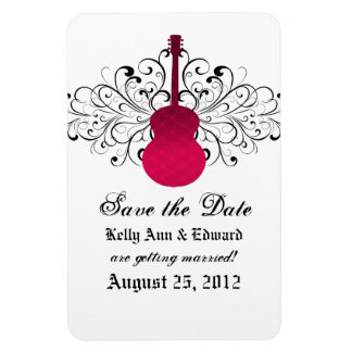 Swirls Guitar Save the Date Magnet, Pink Magnet