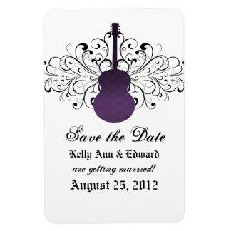 Swirls Guitar Save the Date Magnet, Purple Magnet