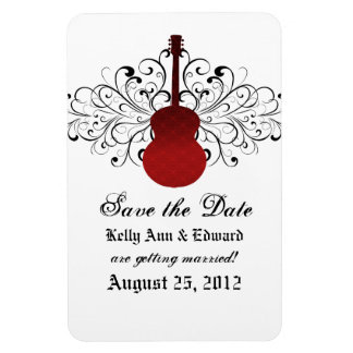 Swirls Guitar Save the Date Magnet, Red Magnet