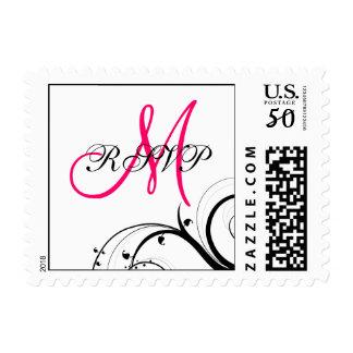 Swirls Hot Pink Monogram RSVP Wedding Postage