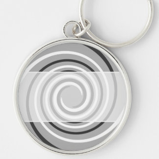 Swirls in Gray and White. Spiral Design. Keychain