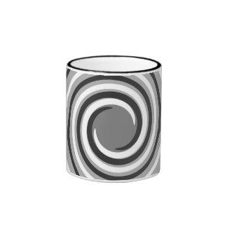 Swirls in Gray and White. Spiral Design. Mug