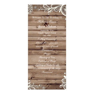 swirls lace barn wood country wedding program