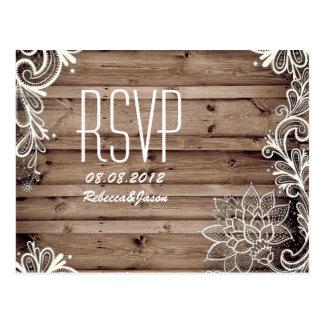 swirls lace barn wood country wedding RSVP Postcard