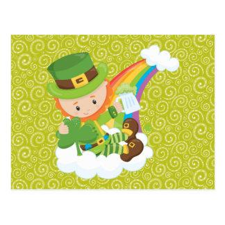 Swirls Leprechaun and Rainbow Postcard