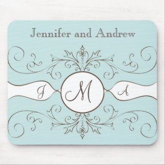 Swirls Monogram Bride Groom Names Wedding Gift Mouse Pad