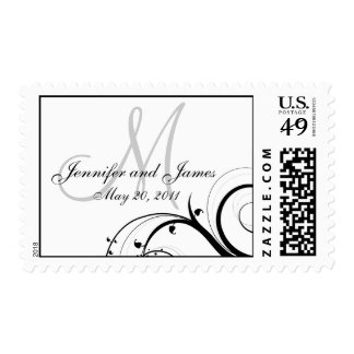 Swirls Monogram Names Date Wedding Postage