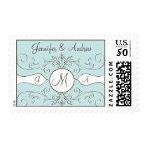 Swirls Monogram Names Wedding Postage Stamps