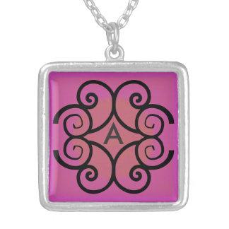 Swirls Monogram Silver Plated Necklace