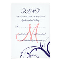 Swirls Navy Blue Coral Pink Wedding RSVP Card