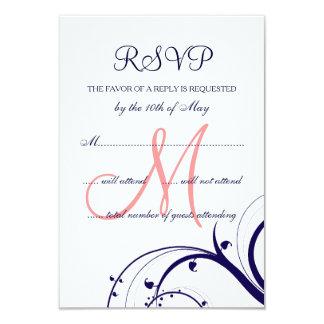 Swirls Navy Blue Coral Pink Wedding RSVP Card