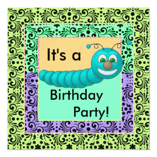 Swirls Of Color Birthday Worms Card
