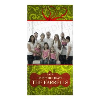 Swirls of Green Christmas Photo Greeting Card