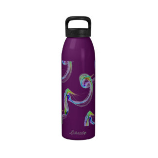 Swirls of Multicolor Light on Purple Water Bottle