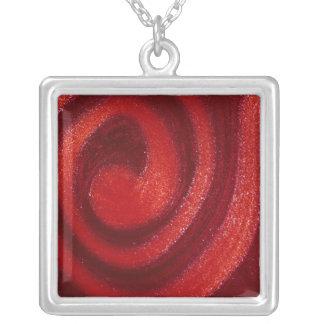 Swirls of nail polish square pendant necklace