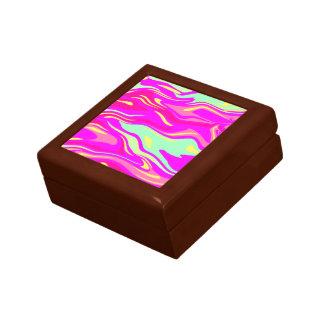 Swirls of Pink, Magenta, Mint Green and Yellow Jewelry Box