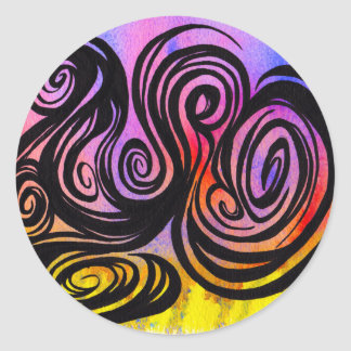 Swirls on Color by Mark Bray Oct 29 2014 Classic Round Sticker