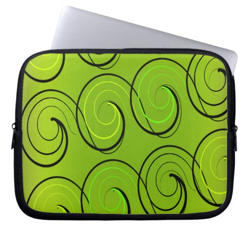 Swirls On Green Laptop Sleeve