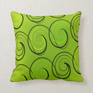 Swirls On Green Pillows