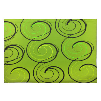 Swirls On Green Cloth Place Mat
