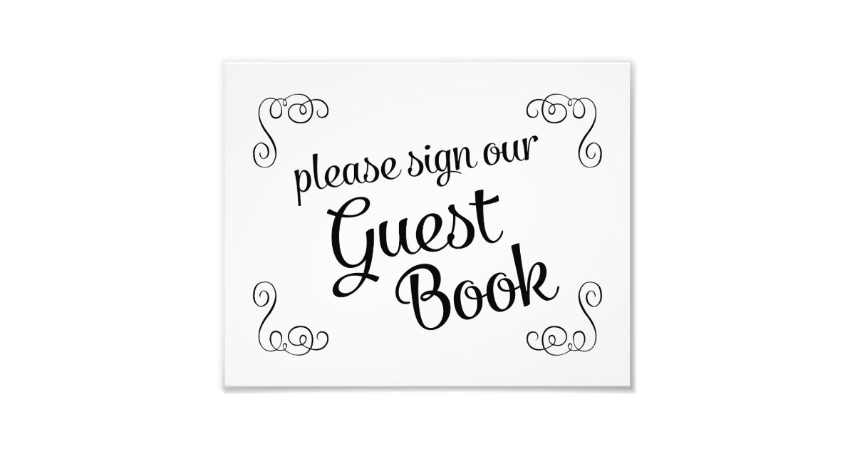 swirls please sign our guest book wedding sign photo print zazzle. Black Bedroom Furniture Sets. Home Design Ideas
