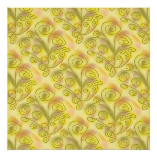 Swirls soft gold & pastels in a pattern poster